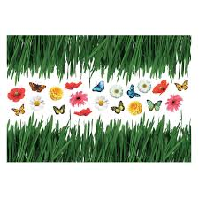 Home Decor Line Grass With Butterflies And Flowers Wall Decals Walmart Com Walmart Com
