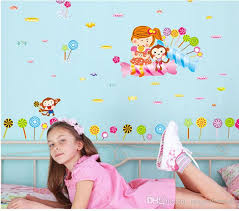Cartoon Monkey Little Girl Lollipop Wall Art Mural Decor Romantic Kids Boys Girls Nursery Wall Decal Sticker The Taste Of Lollipop Wallpaper Wall Decals Design Wall Decals Designs From Magicforwall 1 59 Dhgate Com