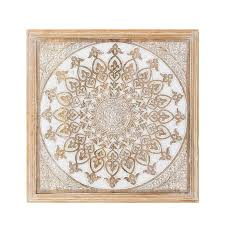 jana natural wood carved medallion wall art