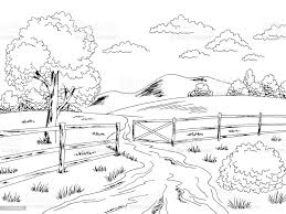 Rural Road Fence Gate Graphic Black White Landscape Sketch Illustration Vector Stock Illustration Download Image Now Istock