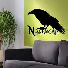 Gothic Wall Decal Nevermore Raven Silhouette Edgar A Poe