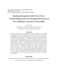 Pdf Breaking Through The Rabbit Proof Fence Colonial Displacement And Aboriginal Resistance In Doris Pilkington Garimara S Storytelling