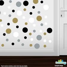 Gold Silver Black White Polka Dot Circles Wall Decals Polka Dot Circles Decalvenue Com Decal Venue