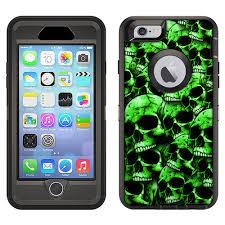 Skin Decal For Otterbox Defender Apple Iphone 6 Plus Case Green Skulls On Black Decal Not A Case Walmart Com Walmart Com