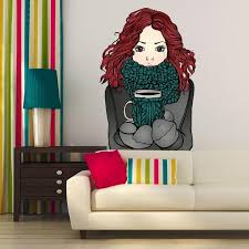 Shop Girl Coffee Cup Full Color Wall Decal Sticker K 203 Frst Size 20 X31 Overstock 20872178
