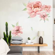 Peony Rose Flowers Wall Art Sticker Decals Vinyl Stickers Kid Room Nursery Home Decor Wallpaper For Bedroom Living Room Yl Wall Stickers Aliexpress