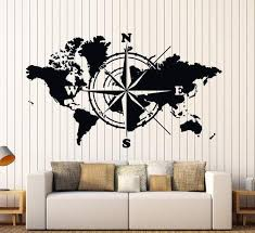Wall Vinyl Decal World Map Atlas Of The World Compass Home Interior Decor Unique Gift Z4422 Compass Wall Decor Vinyl Wall Decals Vinyl Wall