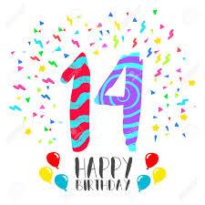 Numero 14 Del Feliz Cumpleanos Tarjeta De Felicitacion Durante