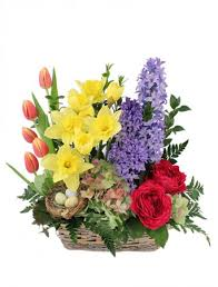 blissful garden flower basket in