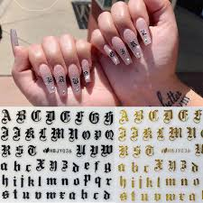 Nail Art 3d Decal Stickers Alphabet Letters White Black Gold Acrylic Nails Tool Stickers Decals Aliexpress