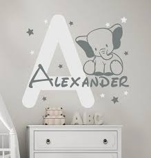 Elephant Wall Decal Personalized Name Decal Baby Room Decor Boy Name Decal Elephant Sticker Monogram Letter Star Decal Boy Room Decor In 2020 Elephant Wall Decals Boys Room Decor Baby Room Decor