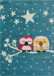 Blue Pink White Soft Cute Area Rug Carpet Mat With Owl Stars Animal Cartoon For Kids Little Girl Boy Room Nursery Size 3 11 X5 3 Feet 120 160 Cm And 4x5 5x7 7x9 8x10
