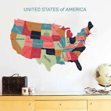Usa Map Wall Decal Rainbow Color United States Of American Map Vinyl Art Sticker Ebay