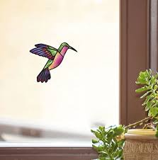 Amazon Com Hummingbird Stained Glass Style See Through Vinyl Window Decal Yadda Yadda Design Co Color And Size Choices Small 3 5 W X 3 H Green Rainbow Arts Crafts Sewing