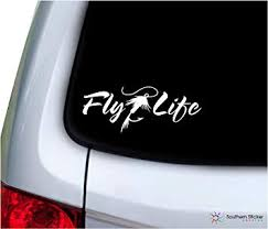 Amazon Com Southern Sticker Company Fly Life Text Fly Fishing 7x2 7 Inches Beach Hunting Game Lake Ocean Size Laptop Car Window Truck Made And Shipped In Usa White Automotive