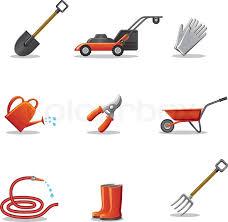 garden tools icon set stock vector