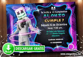 Invitaciones De Marshmello Para Editar Gratis Mega Idea