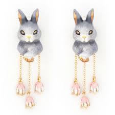 Buy Adele Gray Rabbit Earrings for Womens at Goxip