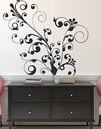 Amazon Com Swirl Floral Curve Flower Wall Decal Decor Sticker 511a 44in X 51in Black Color Automotive