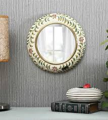 wooden round wall mirror in yellow