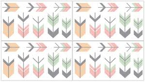 Grey Coral And Mint Woodland Arrow Peel And Stick Wall Decal Stickers Art Nursery Decor By Sweet Jojo Designs Set Of 4 Sheets Only 13 35