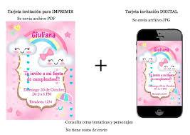 Tarjeta Invitacion Lluvia De Amor Personalizada Imprimible 150