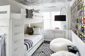 Black And White Contemporary Kids Room With Fur Poufs Hgtv