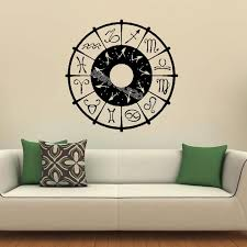 Zodiac Wheel Sign Wall Stickers Spirit Astronomy Science Symbols Wall Decal Sun And Moon Astrology Yin Yang Decal Poster Eb431 Wall Stickers Aliexpress