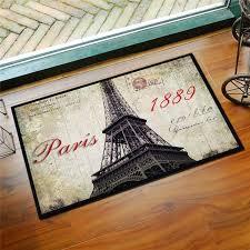 vintage print eiffel tower area rug for