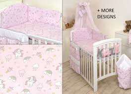 unicorn on pink baby bedding set cot