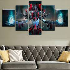 Modern Home Decorative Wall Art Modular Pictures Hd Prints Game Posters 5 Pieces Canvas Dota 2 Horns Lich Painting Wish