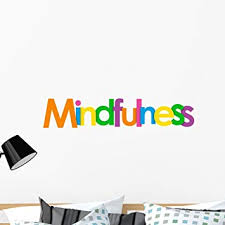 Amazon Com Wallmonkeys Lettering Mindfulness Word Wall Decal Peel And Stick Typographic Graphics 36 In W X 12 In H Wm376338 Furniture Decor