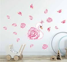Swan Princess Floral Pedal Wall Stickers For Girls Nursery Decal Art Kids Decor Ebay