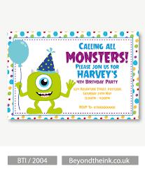 Personalised Mike Wazowski Monsters Inc Invitation Con Imagenes