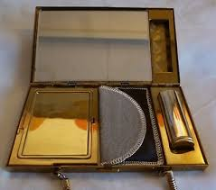 1950s brass m o p woman compact