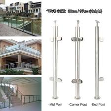 Stainless Steel Balustrade Mid Post Brushed Metal Decking Staircase Landing 90cm For Sale Online Ebay