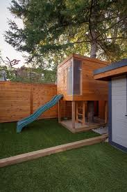 Innovative Backyard Playhouse In Kids Contemporary With Corner Fence Next To Trap Door Alongside Building Backyard Playhouses And Treehouse