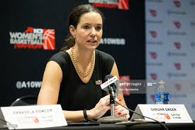 Dayton Flyers head coach Shauna Green speaks during the post-game ...