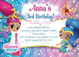 Shimmer And Shine Birthday Invitation Printable Birthday