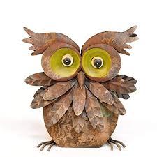 avocado stone rustic metal owl ornament