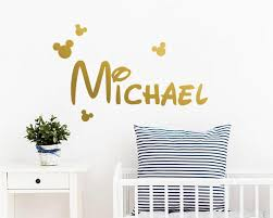 Mickey Mouse Wall Decal Custom Name Decal Bow Decal Etsy