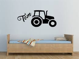 Tractor Custom Name Wall Sticker Personalised Boys Room Custom Kids Name Wall Decal Home Decor Nursery Living Room Mural Ea903 Wall Stickers Aliexpress