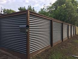 Corrugated Iron And Hardwood Fence Corrugated Metal Fence Metal Fence Panels Diy Privacy Fence