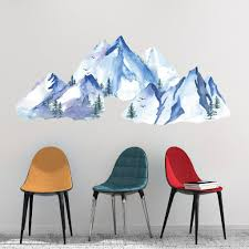 Picture Perfect Decals Mountains Watercolor Wall Decals Blues