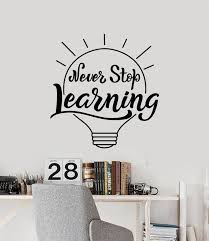 Vinyl Wall Decal Never Stop Learning Quote Lamp Idea Classroom School Wallstickers4you