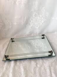 vintage glass vanity tray mirror tray