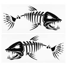 2 Pieces Fish Mouth Stickers Skeleton Fish Stickers Fishing Boat Canoe Kayak Graphics Accessories Walmart Com Walmart Com