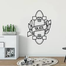Skateboard Vinyl Wall Sticker Teen Quote Skating Sports Vinyl Wall Decals Home Decor Skate Design Removable Wall Mural Ay1381 Wall Stickers Aliexpress