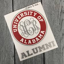 University Of Alabama Vinyl Decal Monogrammed Alumni Decal University Of Alabama Crimson Tide Sticker By Graph Vinyl Decals Alabama Alumni Vinyl Sheets