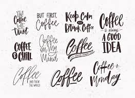set of coffee lettering isolated on light background collection